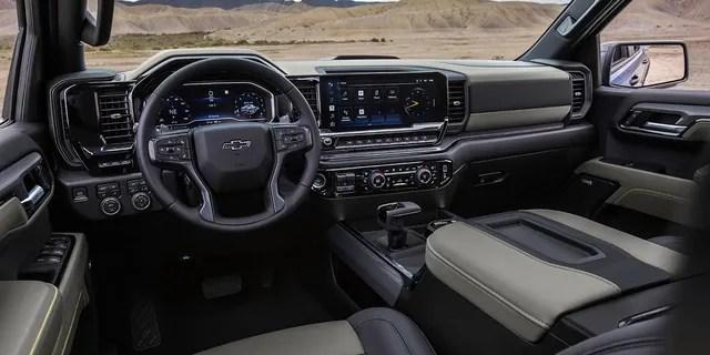 The Silverado ZR2 gets a rugged interior treatment.