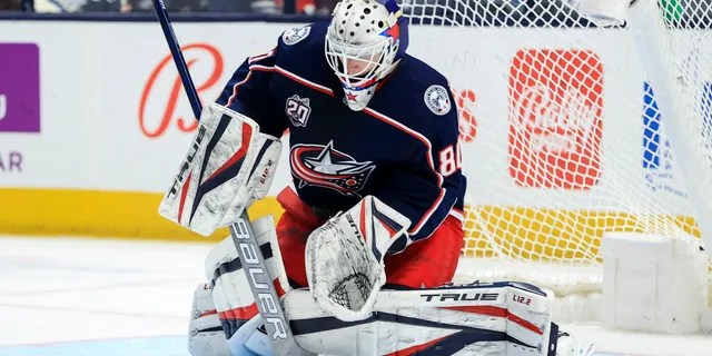 Columbus Blue Jackets goaltender Matiss Kivlenieks (80) makes a save in net against the Detroit Red Wings in the second period May 8, 2021, at Nationwide Arena in Columbus, Ohio. (Aaron Doster-USA TODAY Sports)