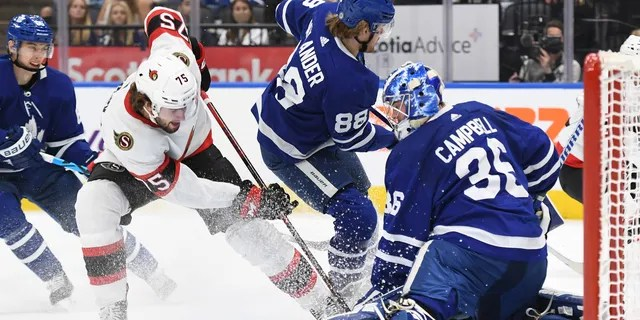 Toronto Maple Leafs goalie Jack Campbell (36) makes a save on Ottawa Senators forward Egor Sokolov (75) in the first period Oct. 9, 2021, at Scotiabank Arena in Toronto.