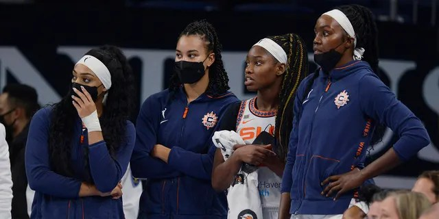 Connecticut Sun players watch during the final seconds in Game 4 of a WNBA basketball playoff semifinal against the Chicago Sky on Wednesday, Oct. 6, 2021, in Chicago. Chicago won 79-69.