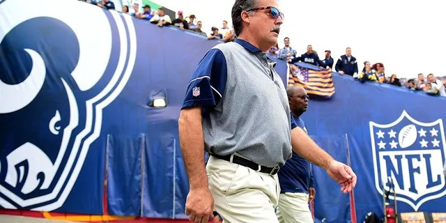 LOS ANGELES, CA - DECEMBER 11: Head coach Jeff Fisher of the Los Angeles Rams takes to the field before the game against the Atlanta Falcons at Los Angeles Memorial Coliseum on December 11, 2016 in Los Angeles, California. (Photo by Harry How/Getty Images)