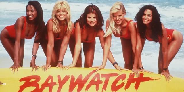 Girls from 'Baywatch' circa 1996.  From LR: Tracy Bingham, Donna D'Erico, Yasmin Blyth, Gena Lee Nolin and Nancy Wallen.