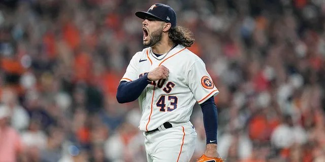 Houston Astros starting pitcher Lance McCullers Jr. reacts after he got Chicago White Sox's Adam Engel to ground out to end the top of the fifth inning in Game 1 of a baseball American League Division Series Thursday, Oct. 7, 2021, in Houston.