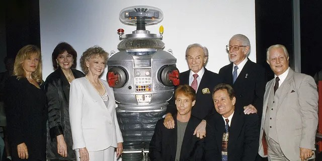 'Lost in Space' cast from left: Marta Kristen, Angela Cartwright, June Lockhart, Bill Mumi, Jonathan Harris, Bob May, Mark Goddard at the Television and Radio Museum in Beverly Hills.