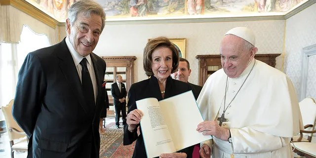 U.S. Speaker of the House Nancy Pelosi and her husband Paul Pelosi meet with Pope Francis at the Vatican, October 9, 2021.