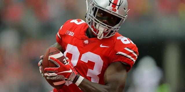 Sep 8, 2018; Columbus, OH, USA; Ohio State Buckeyes wide receiver Terry McLaurin (83) catches a pass for a touchdown against the Rutgers Scarlet Knights in the first half at Ohio Stadium.