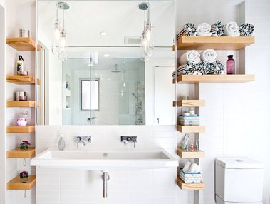 wooden bathroom storage shelves