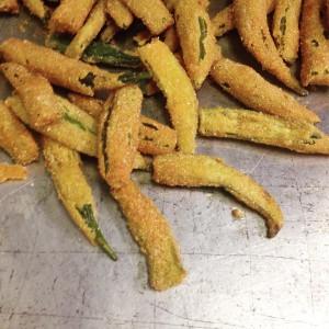 A pan full of cornmeal fried okra