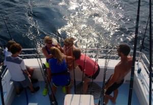 four lady anglers battle a big one shark fishing gulf shores alabama