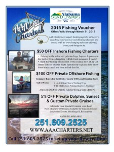 Winter 2015 Fishing Discounts 5%-$100 OFF Fishing & Dolphin Cruises