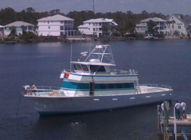 Orange Beach AL Deep Sea fishing Headboat Miss E docked at Florabama Marina