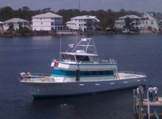 Orange Beach AL Deep Sea fishing Headboat Miss E docked at Florabama Marina