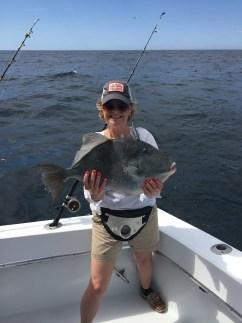 deep sea fishing Orange Beach AL lady angler and a doormat triggerfish Mrs. Root