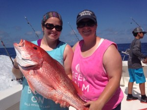AL Deep Sea Fishing Red snapper caught by lady anglers on a semi private fishing charter in gulf shores al