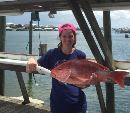 affordable gulf shores fishing charters party boat Miss E fishing for teen lady angler with her red snapper