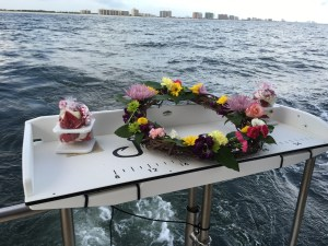 biodegradable wreath rose petals Alabama Gulf of Mexico burial at sea