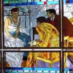 Man on Bed Stained Glass