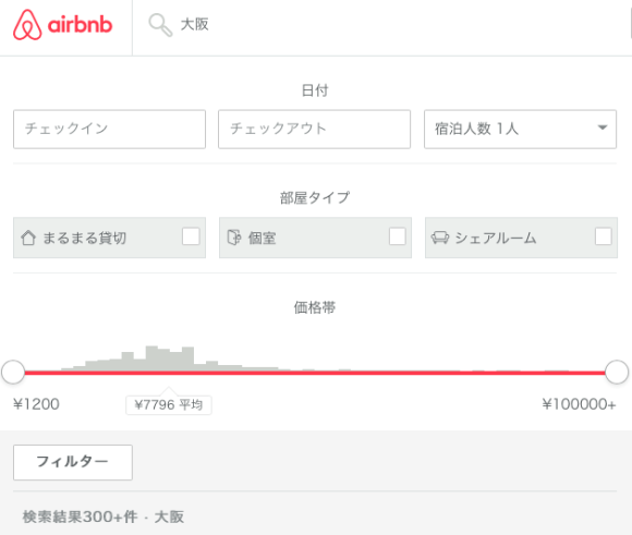 民泊 大阪 料金 価格