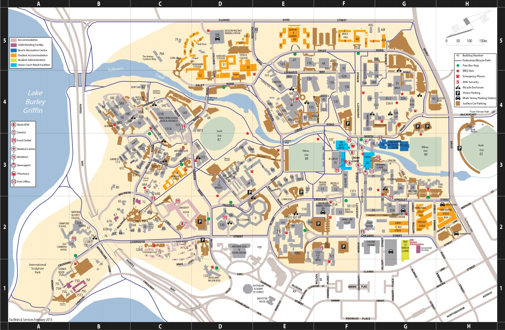 Anu Campus Map Map Of Anu | International Map