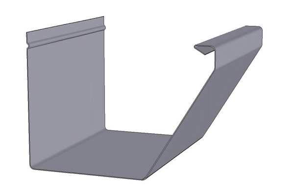Straight Face / Flat Face Gutter Cross Section Drawing