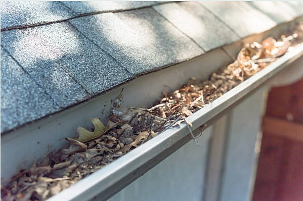 Cleaning Clogged Rain Gutters after High Winds