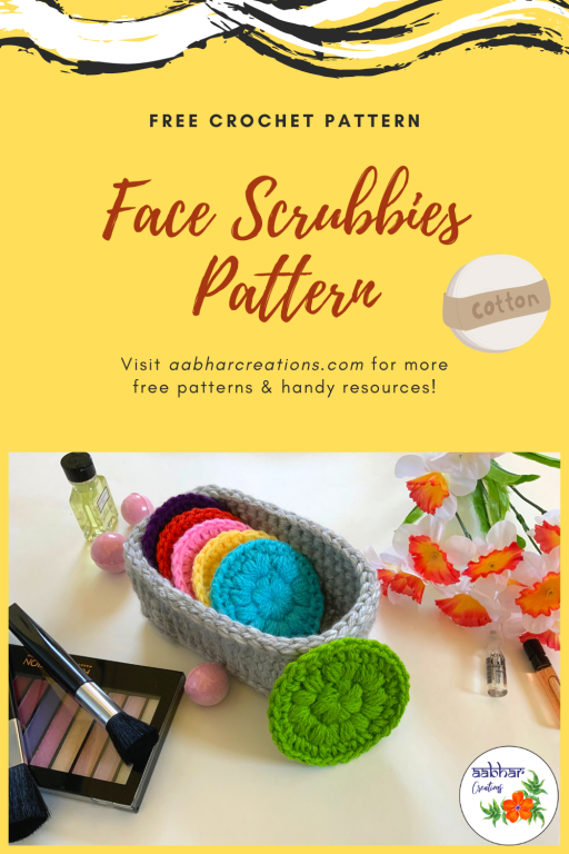 free crochet pattern face scrubbie aabharcreations