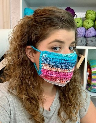 Multicolor Crochet Face Mask Cover Up