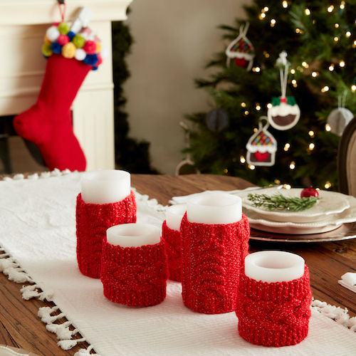 Bernat Knit Cable Candle Cozies