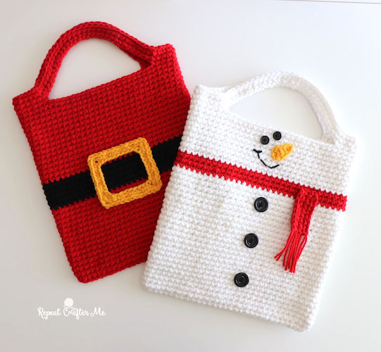 Crochet Christmas Tote Bags crochet last-minute gift