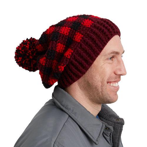 Red Heart Buffalo Plaid Crochet Hat