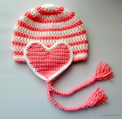 Crochet Valentine Heart Earflap Hat