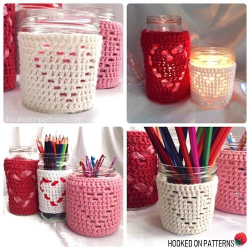 Pattern: Heart Jar Cozy Free Crochet Pattern from Hooked On Patterns valentine's free crochet patterns