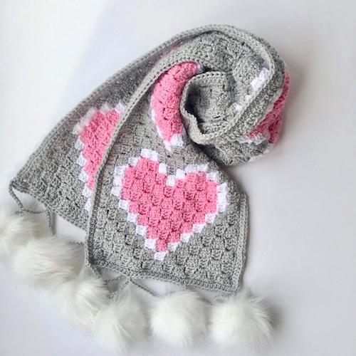 Pattern: Heart C2C Scarf Free Crochet Pattern from Nana's Crafty Home