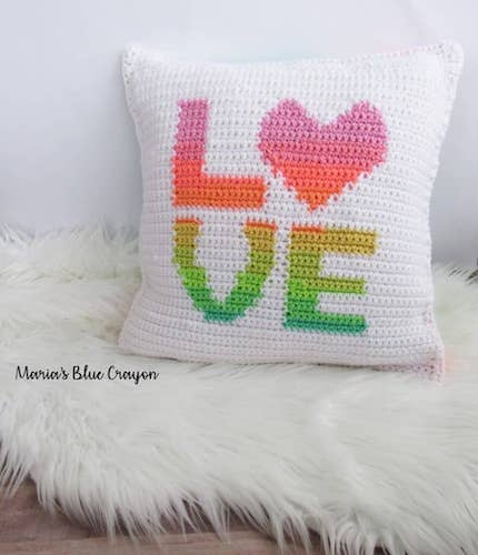 Pattern: Crochet Love Pillow Cover from Maria's Blue Crayon valentine's free crochet patterns