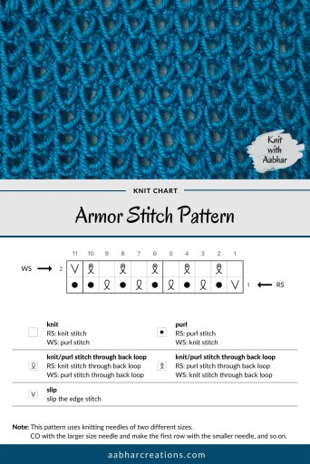 Armor Knit Stitch Chart aabharcreations