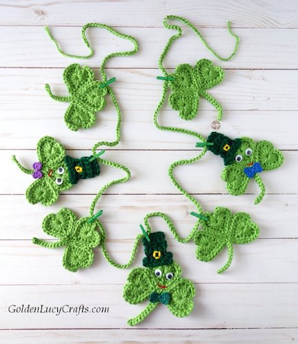 patrick's day crochet patterns Crochet Shamrock Garland for St. Patrick's Day