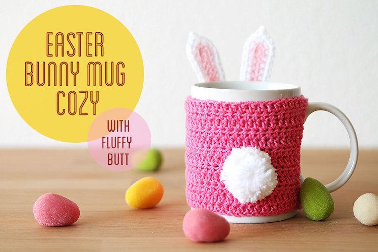 #8 Easter Crochet Bunny Mug Cozy Free Pattern