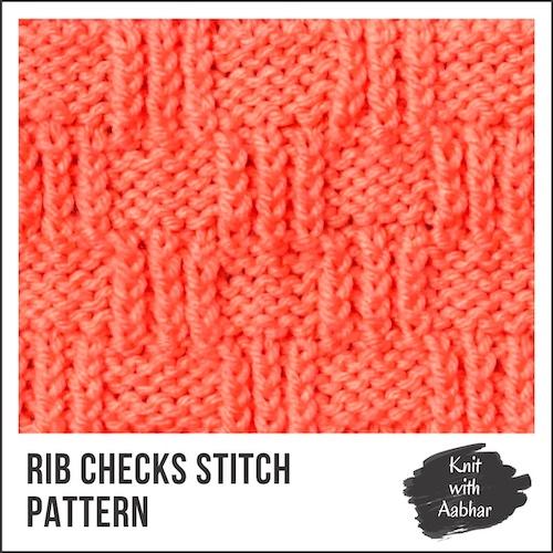Rib Checks Stitch Pattern aabharcreations