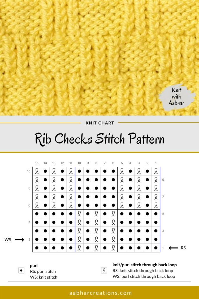 Rib Checks Stitch Chart aabharcreations