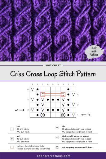Criss Cross Loop Stitch Chart aabharcreations