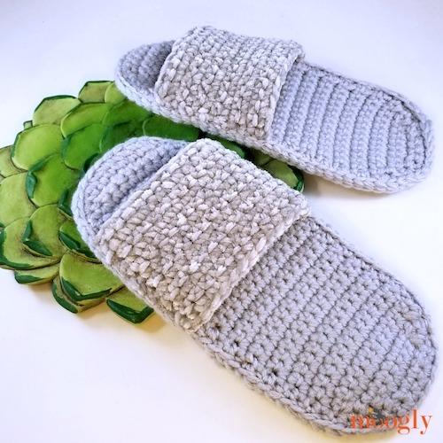 Simple Spa Slippers - Free Crochet Pattern