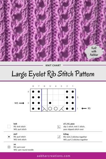 Large Eyelet Rib Stitch Chart aabharcreations
