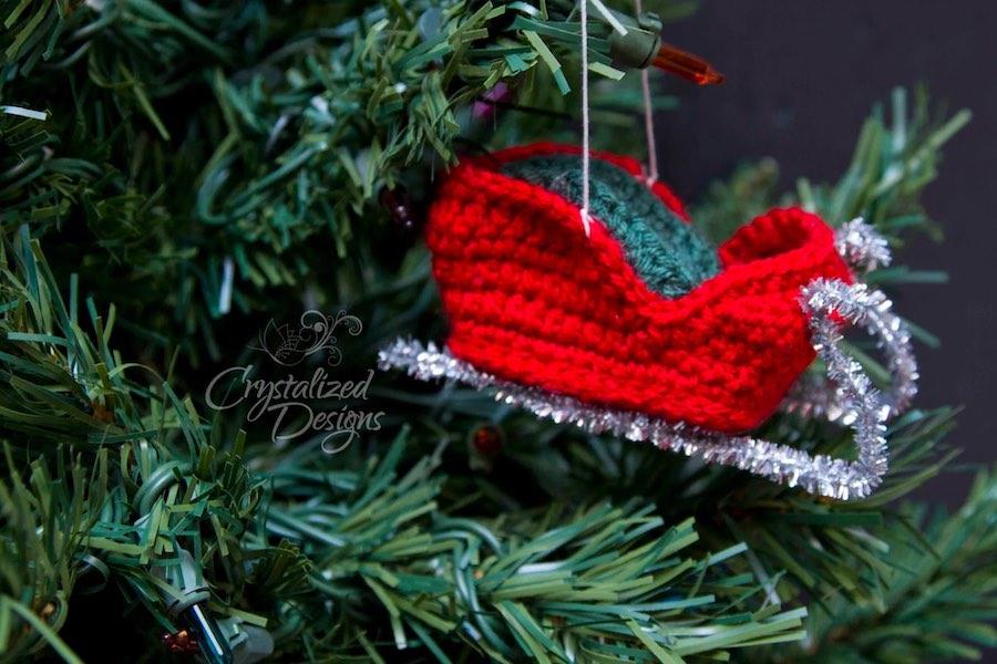 Santa's Sleigh Ornament Crochet Pattern