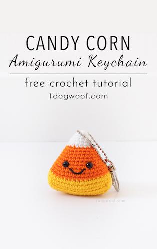 Pattern: Candy Corn Amigurumi Keychain from One Dog Woof