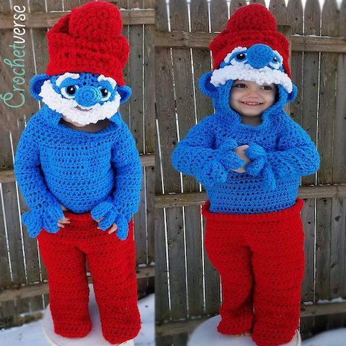 Pattern: Papa Smurf Onesie Costume from Crochetverse