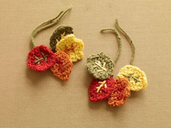 Pattern: Fall Wineglass Decorations from Lion Brand fall crochet patterns