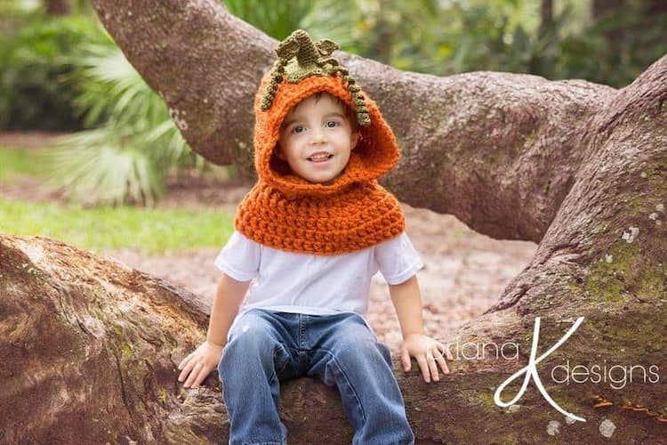 Pattern: Pumpkin Hooded Crochet Cowl from Briana K Designs