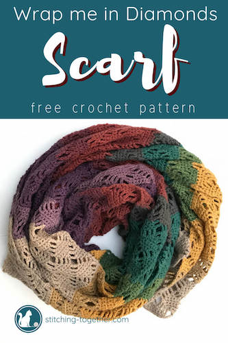 Pattern: Wrap Me In Diamonds Crochet Scarf from Stitching Together