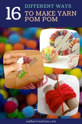 Yarn Pom Pom methods aabharcreations
