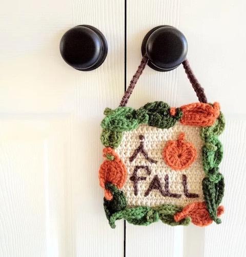 "Pattern: ""I Love Fall"" Crochet Sign by One Social Girl"